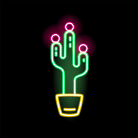 Bright glowing neon cactus in pot vector flat illustration in outline style. Colorful fashion sign peyote decorated with design elements isolated on black background. Electric lighting desert symbol