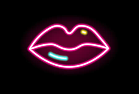 Fashion red lips neon line illumination vector flat illustration in outline style. Female mouth sign of kiss or love isolated on black. Glowing romantic symbol decorated with design elements