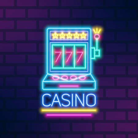 Bright neon gaming slot machine vector flat illustration in outline style. Illuminated sign of casino billboard with stars and 777 jackpot at brick wall. Glowing gamble equipment with lettering