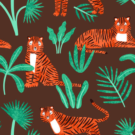 Cute tiger with tropical plants seamless pattern. Childish hand drawn predator animal lying, sitting and standing at jungle vector flat illustration. Striped feline with leaves wallpaper template