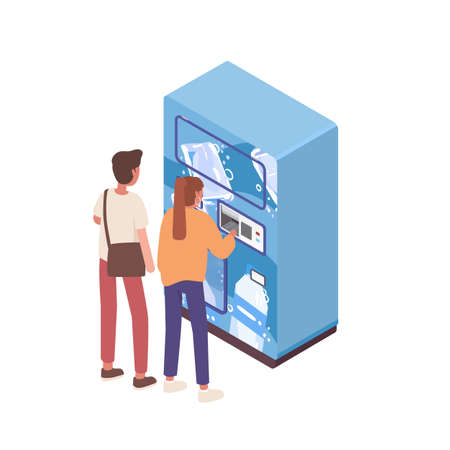 Couple buying water in automatic vending machine vector isometric illustration. Male and female paying for refreshing beverage at public apparatus isolated. Girl and boy use self service technology