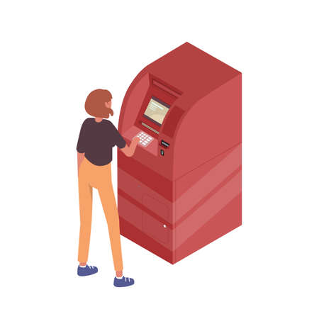 Teenage girl use ATM terminal vector isometric illustration. Modern female standing near machine for withdrawal cash or financial transaction isolated. Automatic money dispenser with banking service 矢量图像