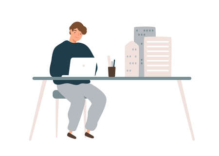 Male architect designer work on laptop with mini building models on table vector flat illustration. Man develop architectural design use digital technology isolated. Engineer create house project 矢量图像