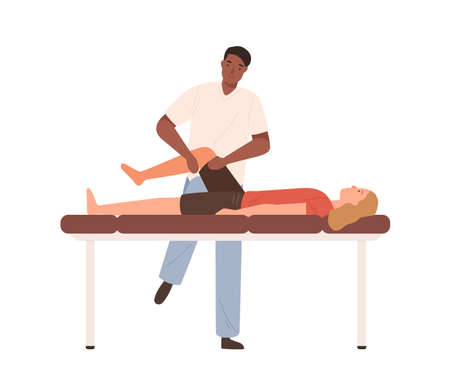 Dark skin male chiropractor making rehabilitation massage of legs to female patient vector flat illustration. Doctor or osteopath practicing alternative medical treatment work with client isolated