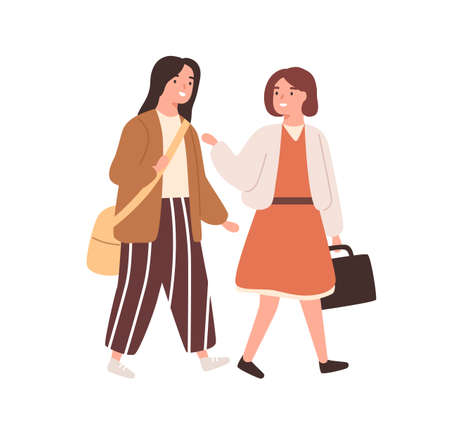 Two schoolgirl with bags going to primary school together vector flat illustration. Female classmates talking and smiling hurry to lesson isolated. Cheerful girls pupils enjoy friendly conversation 矢量图像
