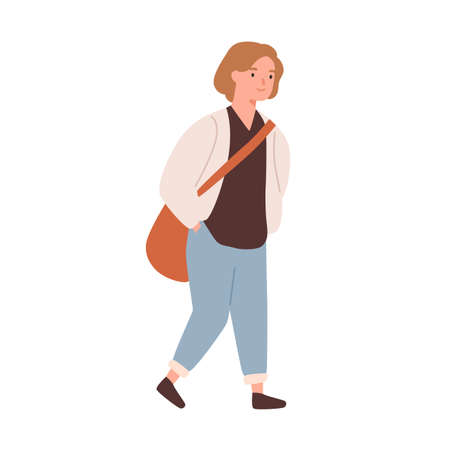 Cute pupil girl with bag going to elementary school vector flat illustration. Smiling schoolgirl with hands in pockets with schoolbag walking isolated. Female student in cardigan and trousers 矢量图像