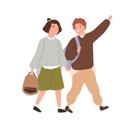 Cute classmates hurry to primary school together vector flat illustration. Smiling pupils or students carry backpack or schoolbag going to lesson isolated. Boy and girl friends walking and talking 矢量图像