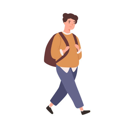 Modern schoolboy with backpack go to elementary school vector flat illustration. Cheerful male pupil or student smiling isolated on white. Happy boy walking wearing trendy outfit