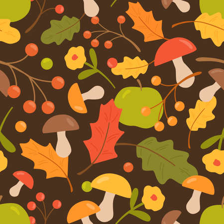 Colorful autumn seamless pattern vector flat illustration. Forest leaves, mushrooms, berries and flowers. Fall seasonal foliage. Decorative wrapping paper. Botanical or floral wallpaper texture 矢量图像