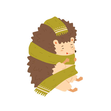 Cute colorful hedgehog wrapping in warm cozy scarf vector flat illustration. Adorable forest animal warming sitting isolated on white. Joyful wild childish character enjoying autumn season