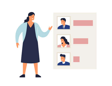 Woman demonstrate results of voting or rating candidates vector flat illustration. Female showing analysis graph of politicians or poll of electors isolated. Evaluation, ranking or statistics Ilustrace