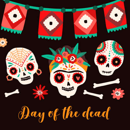 Day of dead Mexican holiday card vector flat illustration. Sugar skulls decorated by festive flowers, ornament with flag garland for Dia de los Muertos. Traditional carnival postcard template 矢量图像
