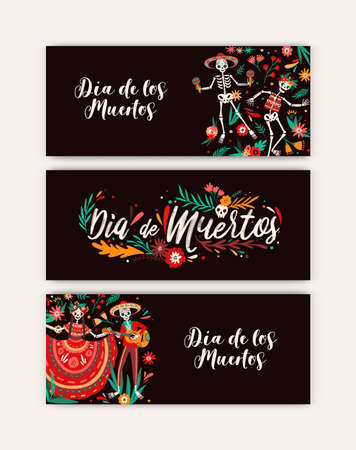 Dia de los angelitos party flyers set vector flat illustration. Bundle of colorful seasonal carnival event invitation. National Mexican holiday with Halloween attributes - skulls and skeletons