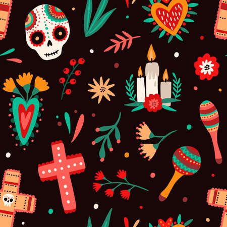 Day of dead traditional Mexican holiday seamless pattern. National attributes - sugar skulls, candles, cross, flowers and maraca shakers vector flat illustration. Celebratory wallpaper template