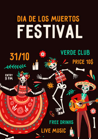 Dia de los muertos festival poster vector flat illustration. Traditional Mexican holiday party invitation with place for text. Skeletons in national Hispanic costumes with festive attributes