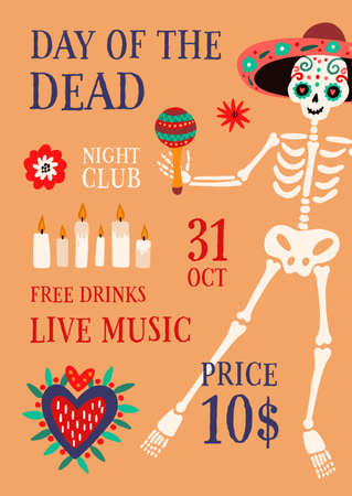 Day of the death theme party promo poster with place for text vector flat illustration. Announcement of 31 October event with traditional Mexican decorations. Placard with male skeleton in calavera