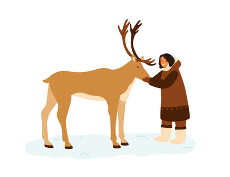 Smiling eskimo woman hugging reindeer vector flat illustration. Female in traditional folk costume standing with horned arctic animal isolated. Northern person in national clothes owner of deer