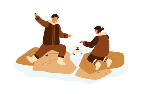 Happy eskimo teenagers playing game having fun together vector flat illustration. Boy and girl build tower use stones isolated. Cheerful people in traditional folk costumes spending time outdoor