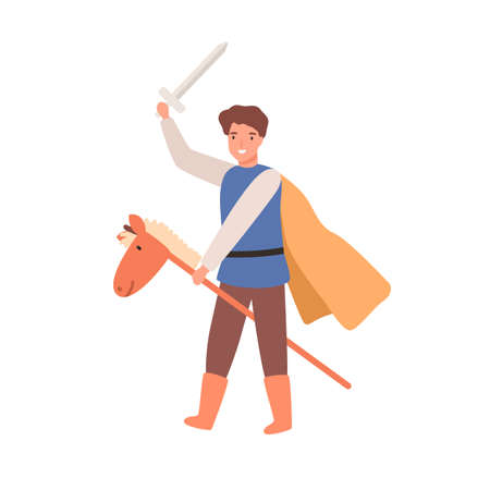 Cute knight boy in cloak holding sword on horse stick toy vector flat illustration. Child actor play warrior in theater performance. Joyful brave male kid in carnival costume isolated on white 일러스트