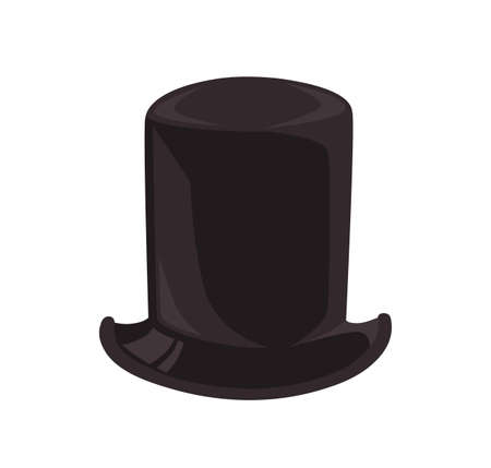 Black classical cylinder hat vector flat illustration. Fashionable gentleman headwear isolated on white background. Stylish male headdress with brim. Vintage head accessory