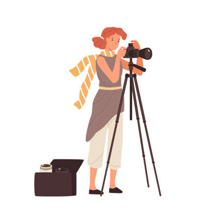Woman professional photographer take photo use camera on tripod vector flat illustration. Female photographing having removable various lens in bag isolated. Creative person enjoying work or hobby 일러스트