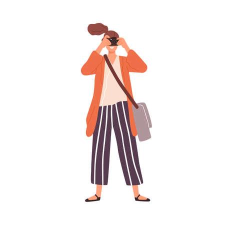 Joyful woman take photo use camera vector flat illustration. Smiling female tourist holding photography digital equipment isolated on white. Funny amateur person with bag enjoying art hobby 일러스트
