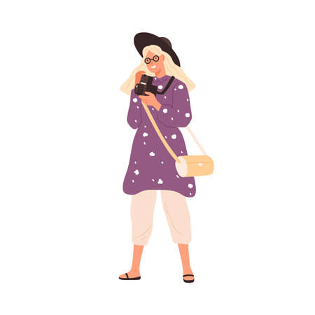 Fashion female with film camera 120 mm vector flat illustration. Smiling travel woman in stylish hat taking photo isolated on white. Happy creative person enjoying art hobby use photographic equipment