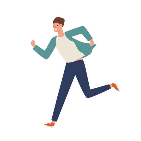 Smiling casual man running away vector flat illustration. Happy young guy hustle or hurry isolated on white background. Funny active male moving fast. Excited person move in rush