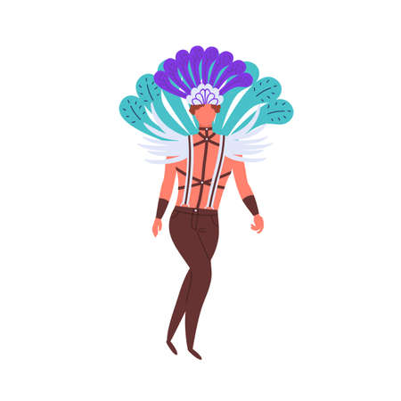 Lgbt man in costume with bright feather and leather bdsm suspender vector flat illustration. Homosexual guy walking in festive garment isolated on white. Male gay in carnival feathers and wings