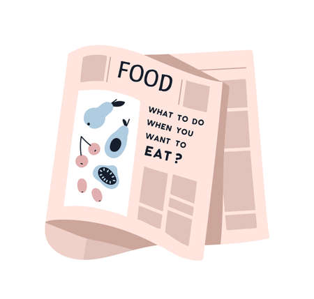 Weekly or daily newspaper sheet with picture and text vector flat illustration. Blank of healthy nutrition or snack isolated on white. Newsprint page with information about dietary or vegetarian food
