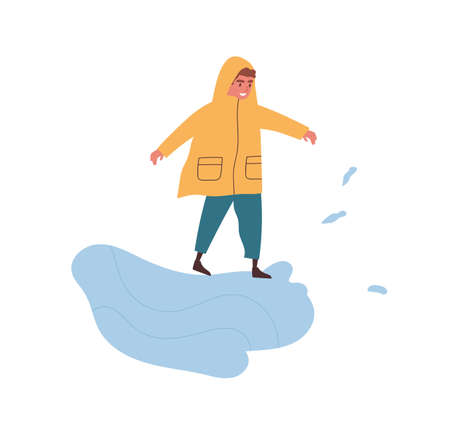 Funny boy in raincoat playing in puddle enjoying autumn weather vector flat illustration. Smiling male kid in seasonal clothes performing outdoor activity isolated. Happy child spend time at street 일러스트