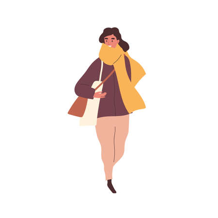 Trendy woman in scarf carrying bags walking outdoor vector flat illustration. Female with shopping bag going on street isolated on white. Stylish person in seasonal autumn outfit holding purchase