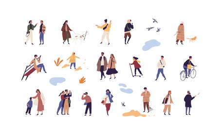 Set of people walk and performing outdoor activity at autumn season vector flat illustration. Collection of man, woman and children talk, play, ride and stroll enjoy fall weather isolated on white Vektorgrafik