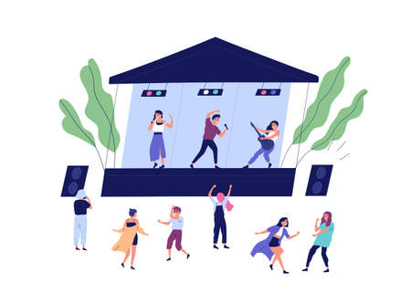 Musical band performing on stage during open air concert vector flat illustration. Happy audience dancing, shooting video and enjoying sound isolated. Musicians and singers at summer indie festival