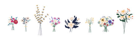 Set of different beautiful bouquets with garden and wild flowers vector flat illustration. Collection of various blooming plants with stems and leaves isolated on white. Floral decoration or gift