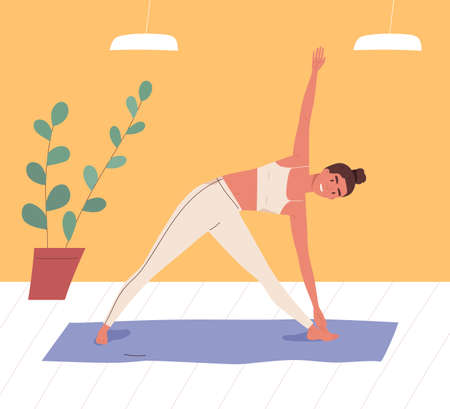 Smiling woman practicing body stretching at gym vector flat illustration. Female in sportswear doing yoga exercise on mat. Sportswoman during sports training. Active person enjoying aerobics Иллюстрация