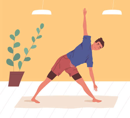 Active man doing yoga exercise at home or gym vector flat illustration. Flexible male practicing stretching or aerobics on mat. Guy in sportswear enjoying sports training or workout Иллюстрация