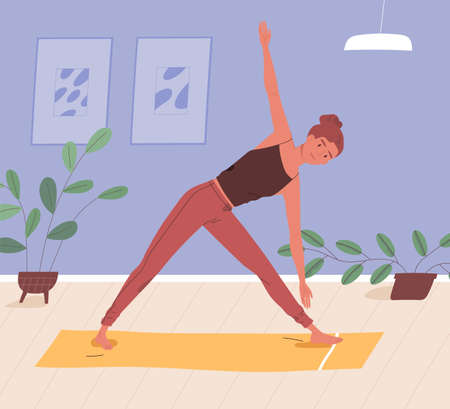 Woman doing yoga on mat at home vector flat illustration. Sportswoman practicing domestic workout. Female enjoying physical activity and healthy lifestyle. Active person during aerobics exercise Иллюстрация