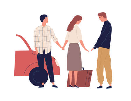 Betrayed husband saying goodbye wife going to another man vector flat illustration. Female with suitcase leave unhappy male isolated on white. Concept of love triangle and family destruction Stock fotó - 155931625