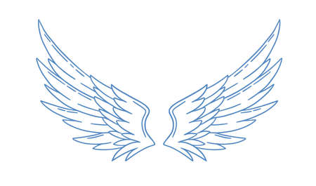 Pair of monochrome wide open angel wings vector illustration in outline style. Cute bird or amour feather wing with design elements isolated on white background. Romantic symbol of holy or cupid Vettoriali