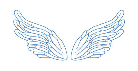 Gorgeous minimalistic angel wings vector illustration in monochrome outline style. Cute feather design elements of cupid or bird isolated on white. Elegant symbol of god, religion, holy or saint Vettoriali