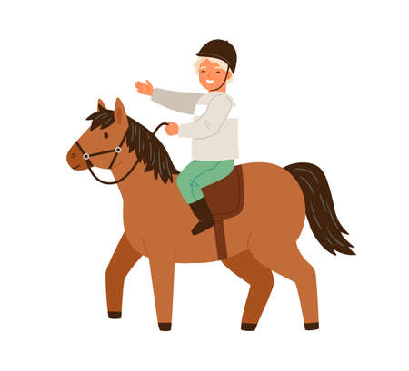 Happy little boy in protective helmet ride on horseback vector flat illustration. Smiling male child horseman practicing equestrian isolated on white. Cute kid riding on pony enjoying training
