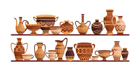Different ancient greek ceramic dishware on shelves vector flat illustration. Clay pots, vases, amphoras, jars and bowls decorated by Hellenic ornaments isolated. Storage of archaeological artefacts