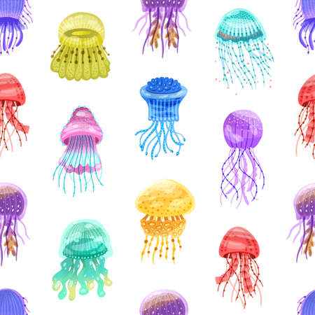 Seamless pattern of motley gradient jellyfish. Swimming glowing colorful medusa on repeatable background for textile. Flat vector cartoon textured illustration of ocean underwater inhabitants Vector Illustration
