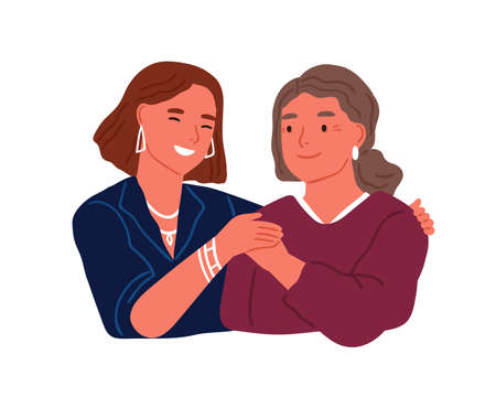 Happy adult daughter hugging old mother feeling love to each other vector flat illustration. Friendly family relationship isolated. Smiling trendy woman embracing aged female having positive emotion Illusztráció