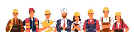 Team of builders and industrial workers standing together vector flat illustration. Portrait of smiling colleagues in uniform and hard hats isolated. Man and woman industry or construction employees