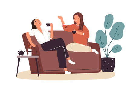 Smiling woman friends drinking tea at home vector flat illustration. Happy female laughing and gossiping sit on comfortable couch isolated. People spending time together having friendly conversation 向量圖像