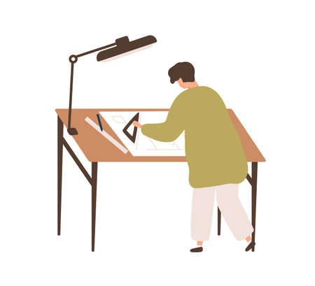 Male professional architect drawing construction plan at workplace vector flat illustration. Man depicting building project on paper scheme isolated. Engineer or designer making draft use equipment Ilustracja