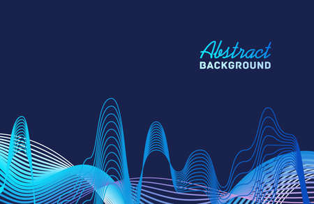 Bright abstract background template with place for text vector flat illustration. Colorful moving gradient waveform isolated. Curve neon sound wave line with dynamic motion. Trendy horizontal backdrop Ilustração