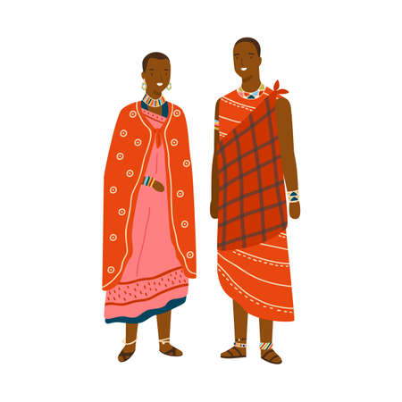 Couple in traditional maasai costume and accessories vector flat illustration. Man and woman in national ethnic clothing of african or kenyan people isolated. Characters in colorful folk apparel